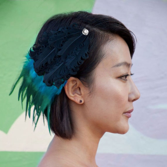 Black Feather Barrette with Blue Green Feathers & swarovski crystal detail