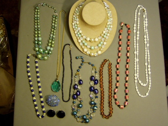 RESERVE FOR CIADRUL - Vintage Lot 9 Glass Bead Necklaces Faceted Glass Bead Brooch & Glass Earrings  1301