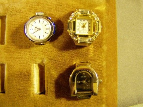 Lot 3 Vintage Ladies Finger Ring Watches Bucherer Pierre Nicol & Nine West  1544