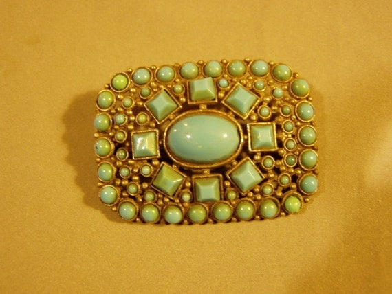 Victorian Silver Tone Turquoise Glass Stone Sash Pin Brooch 1769