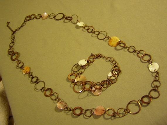 Vintage Copper Ring & Mother of Pearl Disc Link Necklace Bracelet Set 1831