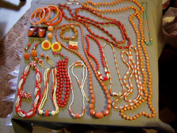 Vintage Mod 1960s Lot 11 Orange Plastic & Ceramic Bead Necklaces Earrings Bangle Bracelets  2762
