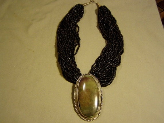 Vintage 1980s 30 Strand Black Seed Bead Necklace With Polished Stone Pendant 2901