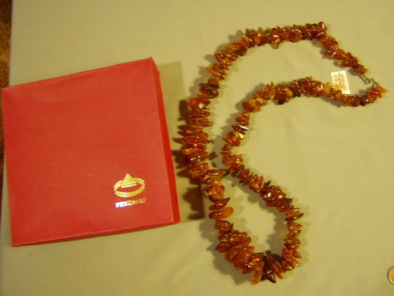 Vintage 1980s Large Natural Butterscotch Amber Nugget Necklace Baltic Poland  3014