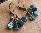 Decoy // Teal Czech Glass Cluster Earrings