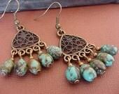 Turquoise Magnesite Stone  / Antique Brass Finish Chandelier Earrings