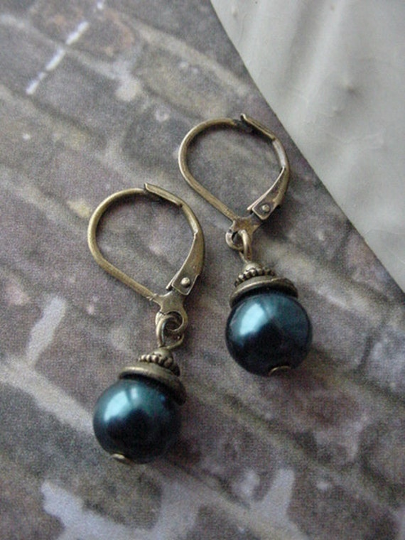 Earrings  //  Navy Blue Glass Pearl and Antique Brass Finish Dangle  //  Jewelry