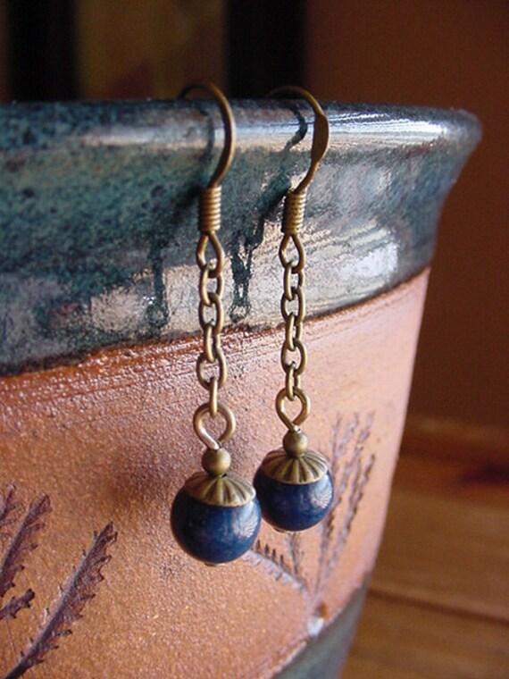 Kaitlyn  //  Navy Blue Fossil / Antique Brass FInish Dangle Earrings