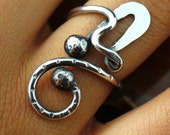 Oxidized Ring Sterling Silver Adjustable Rustic Twisted Wire Size 5 to 11