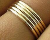 Polished Gold 5 Band Stacking Ring Set