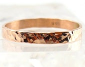 Thin Wedding Band Solid Rose Gold Ring - Hammered