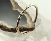 White Gold Twisted Ring Solid 14k - Size 10-12.75