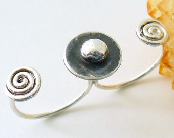 Oxidized Sterling Silver Two Finger Ring