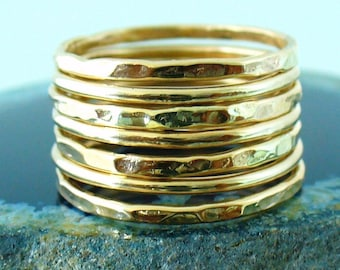 Gold Band Ring Stack Hammered and Polished Mixed 7 Band Gold Stacking Ring Set
