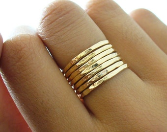 Gold Stacking Ring - Hammered 7 Ring Set