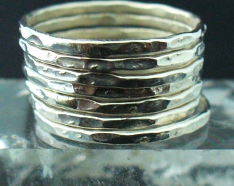 Hammered Silver Ring - 7 Band Set