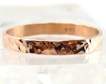Rose Gold Ring Solid 14k Hammered Band Size 10 thru 13