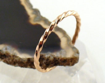Gold Twisted Ring 14k Rose Gold Stacking Ring - Size 10-12.75