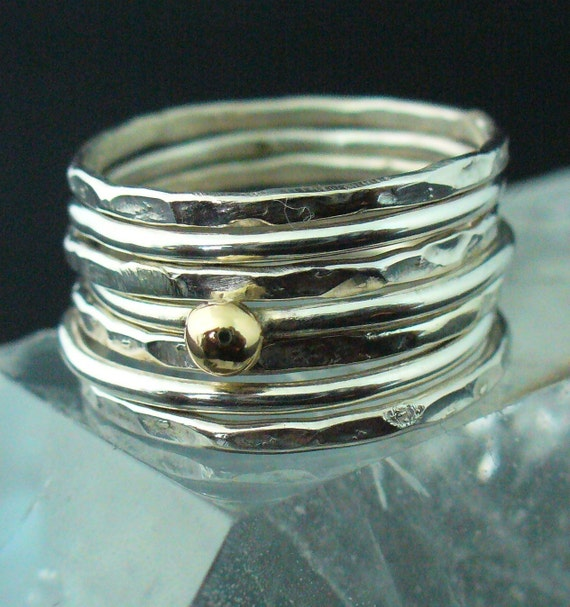 Sterling Stack  Set  Mixed Hammered and Polished Stacking Ring Set of  7 Rings