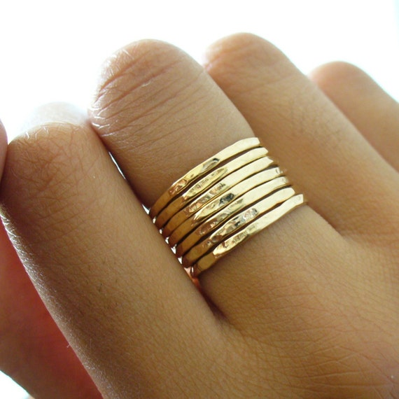 Gold Stacking Ring - Hammered 7 Ring Set