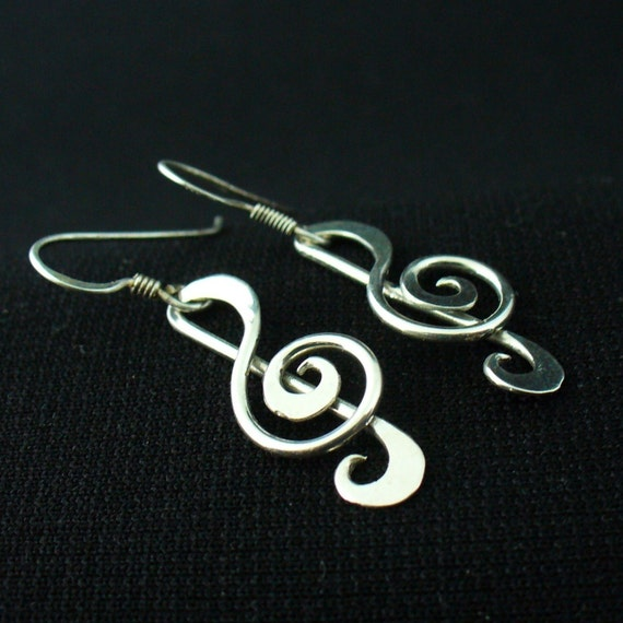 Music Note Earrings Sterling Silver Twisted Wire