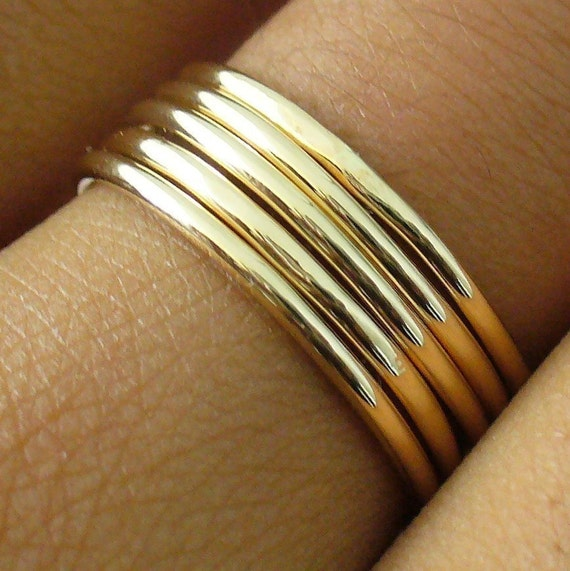 Polished Gold 5 Band Stacking Ring Set