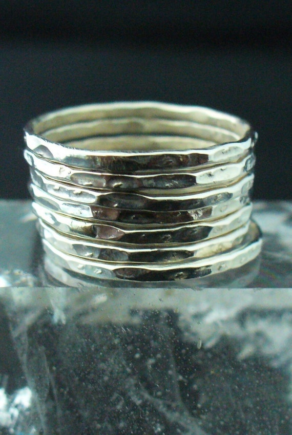 Silver Stacking Ring - Hammered Sterling Silver 7 Band Set