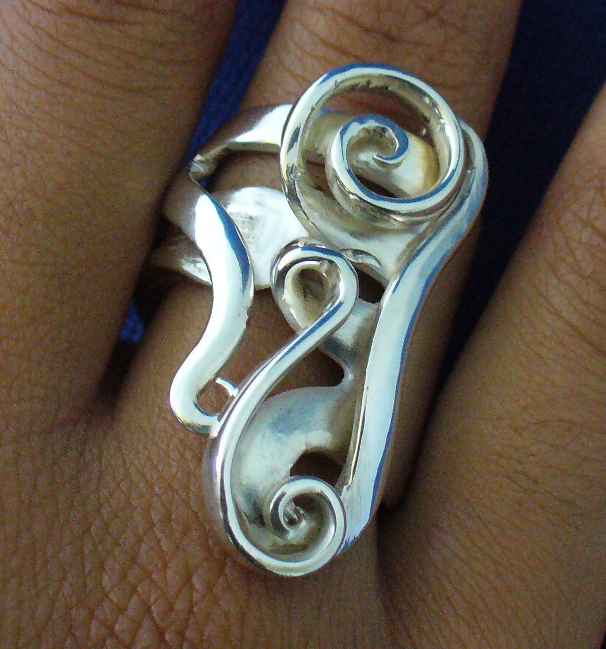 solid sterling silver fork ring made from actual antique