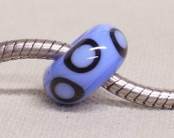 SRA, Glass Large Hole Lampwork Bead - Fits European Charm Bracelets Light Blue with Black Rings