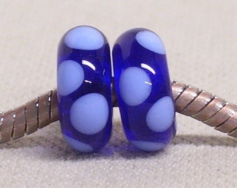 Handmade Lampwork Bead Pair Transparent Blue with Light Blue Dots Fits European Style Charm Bracelets