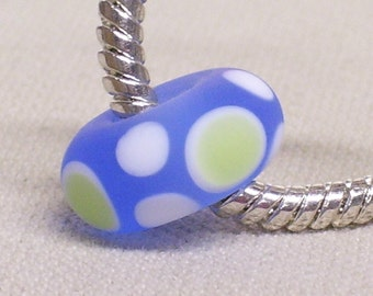 Glass Handmade Lampwork Bead Large Hole European Charm Bead Transparent Blue with white and Light Green Dots - Etched