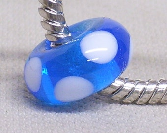 Glass Handmade Lampwork Bead European Large Hole Bead Transparent Blue With White Dots