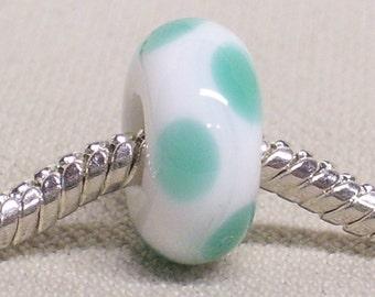 White with Light Green Dots Handmade Lampwork Bead Large Hole European Charm Bead