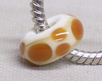 Glass Lampwork Bead Large Hole European Charm Bead Ivory with Brown Dots