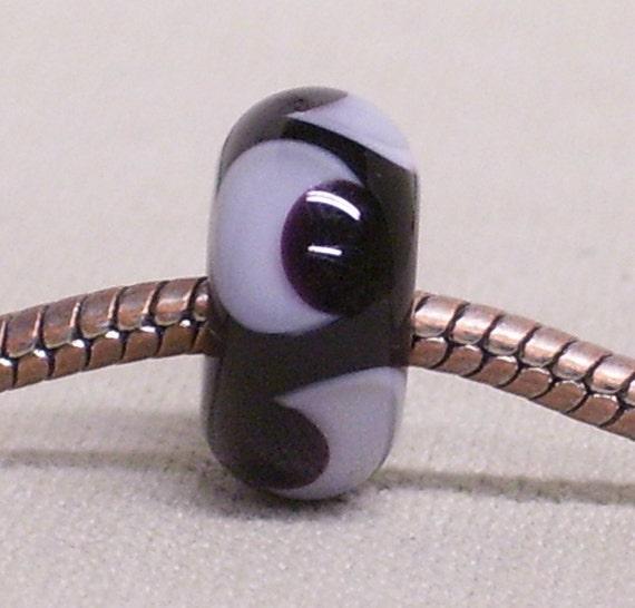 Handmade Lampwork Bead Large Hole European Charm Bead Black with Light Lavender Design