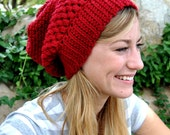 Custom Adult Women Crochet Slouchy Beanie Hat with Puff Stitches You Choose Color