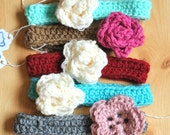 SALE Crochet Baby Rose and Flower Headband Size 0 to 3 Months Ready To Ship Choose Color