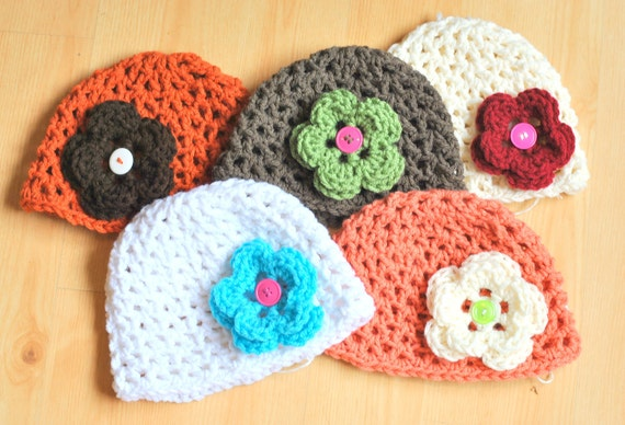 SALE Crochet Baby Beanie with Interchangeable Button Flowers Choose Your Hat and Flower Colors Size 6 Months through Toddler Ready To Ship
