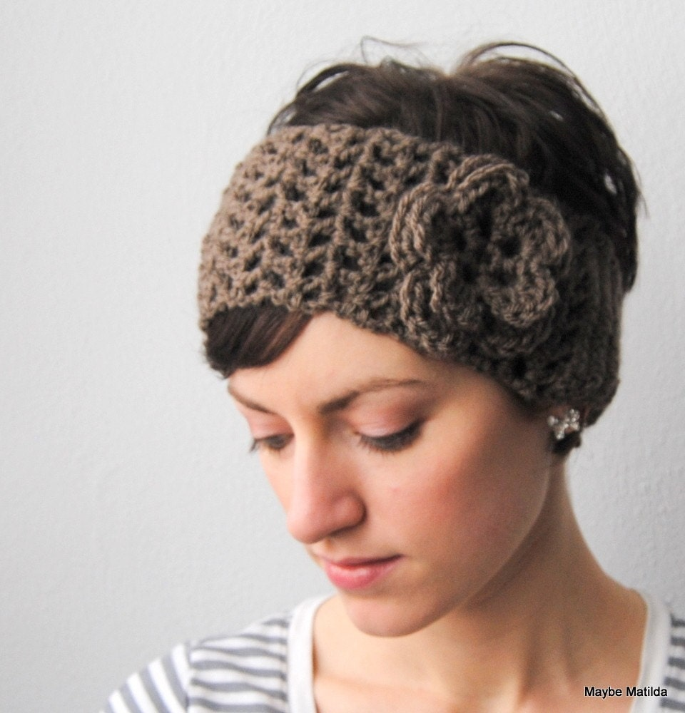 Free Crochet Pattern Headwrap : Womens Crochet Headwrap Earwarmer with Flower You Choose Color