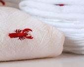 Kitchen Flour Sack Towel  - Lobster Bib, Seafood Fest Napkins and/or Towels