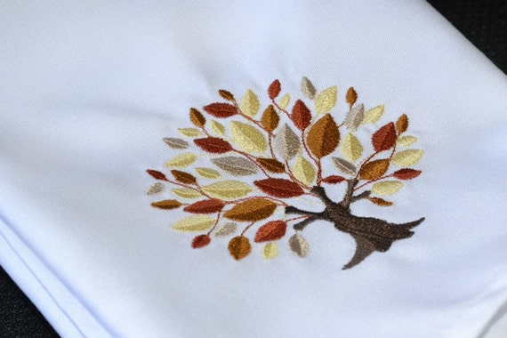 Fall Thanksgiving Dinner Napkin , Elegant Embroidered Fall Tree Autumn Gold Bronze Burnt Orange Brown, Optional Personalization Available