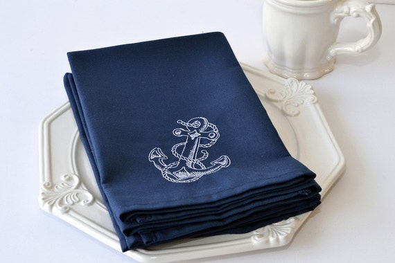 Dinner Napkin , Nautical Boat Anchor with Embroidery Cloth Napkin Americana Beach Seaside, Optional Personalization Available