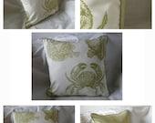 "Thomas Paul's ""Sea-Life"" Kiwi print Pillow Covers, CRAB"