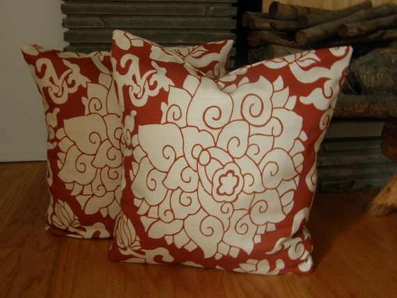 1 Paprika, Bloom 18 inch Pillow Covers, Duralee