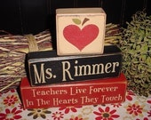 TEACHERS Live Forever In The Hearts They Touch From Little SEEDS Grow Mighty TREES Personalized Wood Sign Blocks Primitive Country Rustic