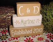 WEDDING Marriage PERSONALIZED Family Last Name Monogram Initials Established Date Wood Sign Blocks Primitive Country Rustic Home Decor Gift