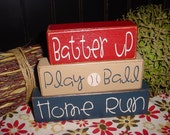SPORTS Batter Up Play Ball Home Run Baseball Hike Football Touch Down Primitive Stacking Blocks Distressed Sports Nursery Birthday
