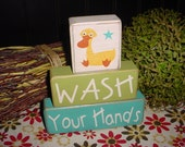 WASH YOUR HANDS Duck Frog Monkey Hand Finger Prints Children Kids Bath Room Decor Primitive Wood Sign Stacking Blocks Distressed