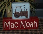 PERSONALIZED Name Boys Girls Kids Tractor FARM Elephant Flowers Dinosaurs OWLS Car Construction Wood Sign Shelf Blocks Primitive Country