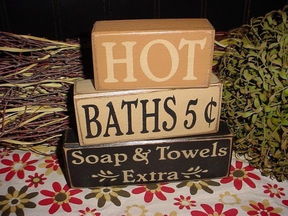Items similar to hot baths 5 cents soap and towels extra for Bathroom decor etsy